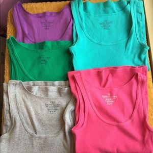 (5) Faded Glory ribbed cotton tank size Medium